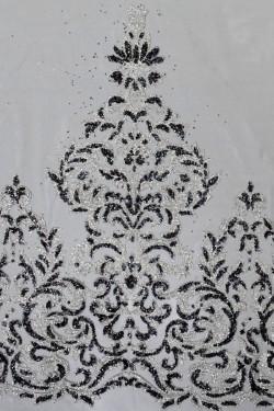 сетка с глиттером Любослава цвет черный с серебром
