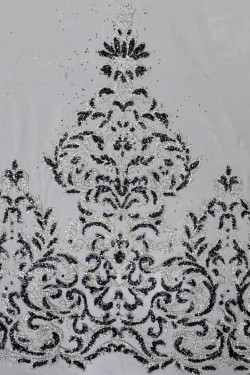 сітка з глітером Любослава колір чорний зі сріблом