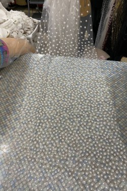 glitter tulle with granules chamomile