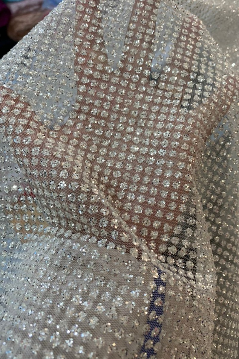 thick polka dot glitter tulle close-up